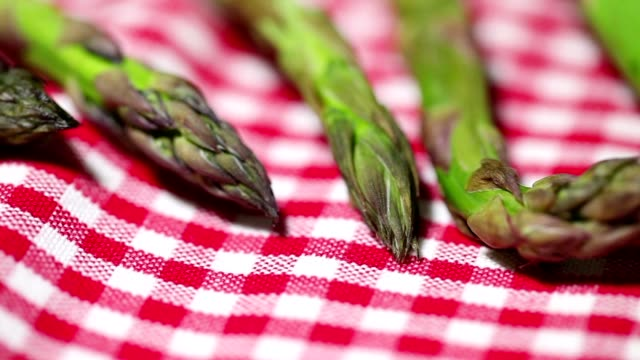 asparagus on red tablecloth video