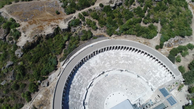 Aspendos Ancient roman theater aerial view video