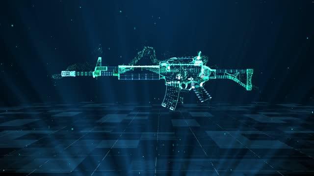 Assault Rifle military technology and digital analysis 4K