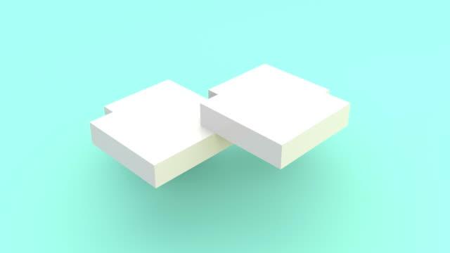 vidéos et rushes de assemblage de plates-formes blanches en images de cube 3d. déplacement de blocs isométriques rectangulaires isolés en fond turquoise. animation dynamique. géométrique forme le mouvement dans différentes directions vidéo 4k - un seul objet