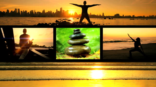 Montage Sunrise Yoga Fitness Multiple montage images of massage stones and female yoga positions outdoors in silhouette at sunrise obedience stock videos & royalty-free footage
