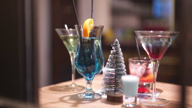 Assorted colorful cocktails