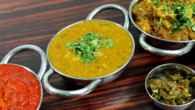 Assorted Indian Food served on a Dining Table video
