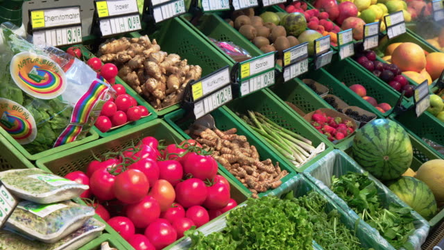 Assorted of fruit and vegetable at grocery store