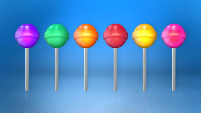 Assortment of colorful lollipops animation loop with luma matte