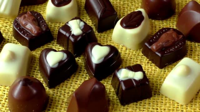 Assortment of dark, white and milk chocolate video