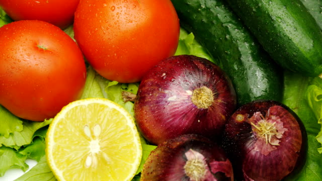 Assortment of fresh vegetables close up rotate video