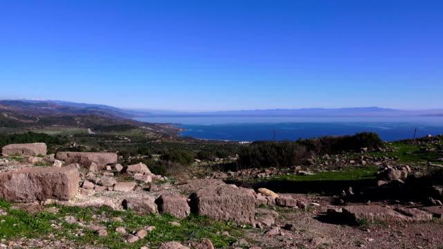 アソス (behramkale)、古代アクロポリスの遺跡、トルコ、チャナッカレ - 石垣点の映像素材/bロール
