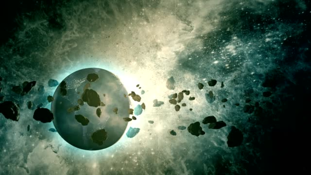 asteroid belt orbiting planet earth - astronomia video stock e b–roll