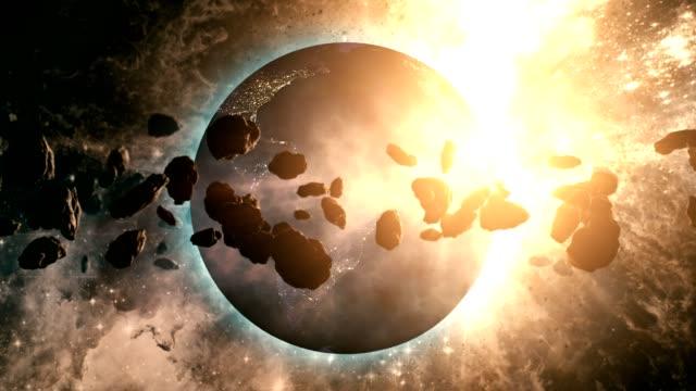 asteroid belt orbiting planet earth - d'atmosfera video stock e b–roll