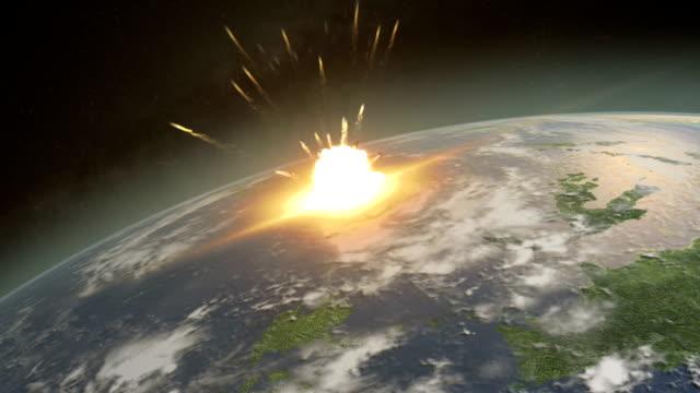소행성 때리기 지구별 - 유성 스톡 비디오 및 b-롤 화면