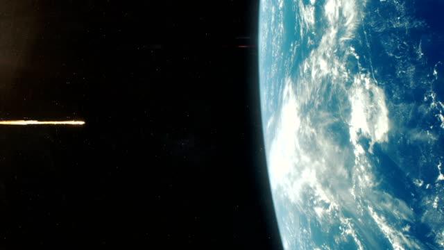 소행성 지구-오렌지에 - 유성 스톡 비디오 및 b-롤 화면