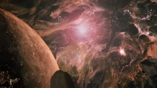 asteroid in space hitting earth - układ słoneczny filmów i materiałów b-roll