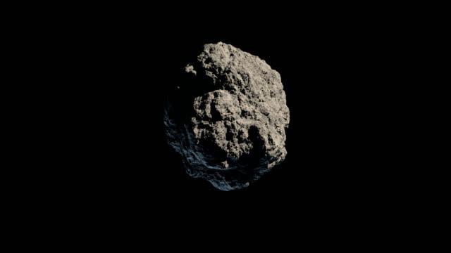 Asteroid or meteorite gyrating on black background video