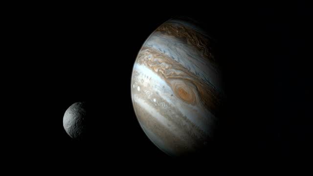 asteroid vesta orbiting in the outer space near of jupiter - jowisz filmów i materiałów b-roll