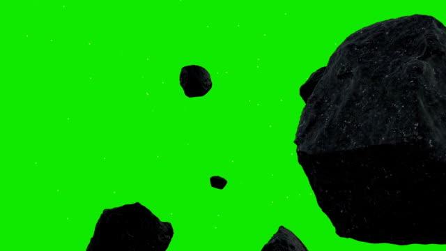 펜을 asteroids 있는 공간을 녹색 화면 배경 - 유성 스톡 비디오 및 b-롤 화면