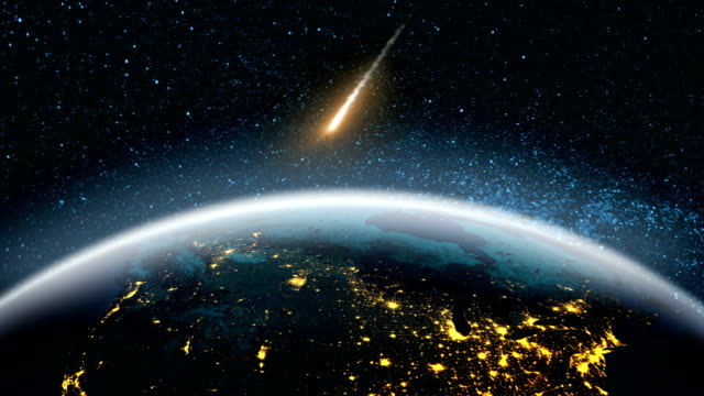 Asteroids in space fly to earth video