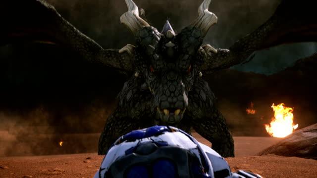 astronaut entkommt dem wütenden drachen epische szene mit explosionen, feuer und rauch auf einem unbekannten planeten. 3d-animation fantasy-hintergrund. - drache stock-videos und b-roll-filmmaterial