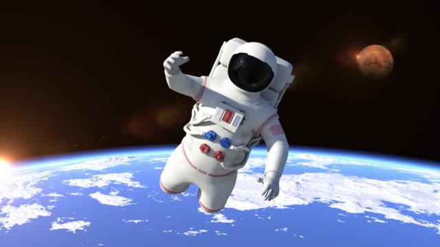 Astronaut Flying Over The North Pole - Close Up video