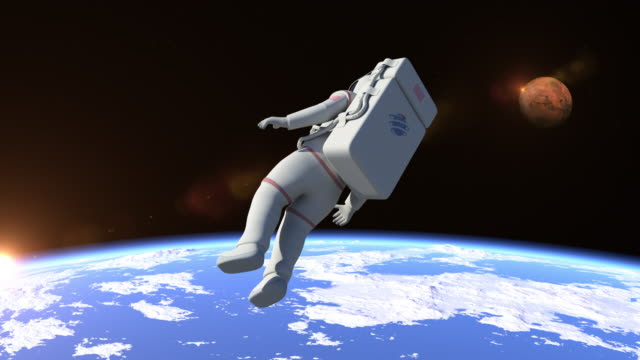 Astronaut Flying Over The North Pole video