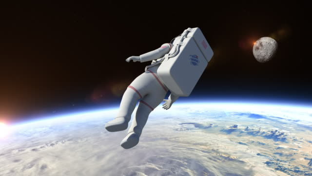 Astronaut Flying Over The Planet Earth video