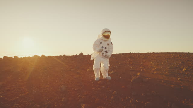 Astronaut getting groovy on Mars