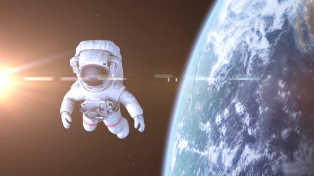 астронавт в космосе - space background стоковые видео и кадры b-roll