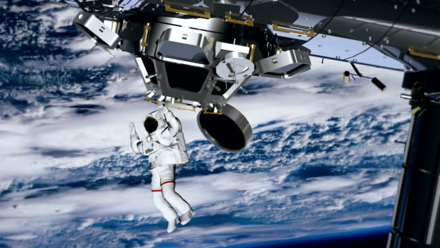 Astronaut Spacewalk, waving his hand in the open space. International Space Station ISS revolving over earths atmosphere. Hurricane behind. video