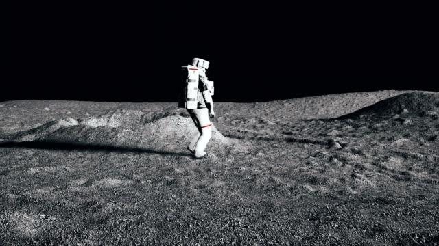Astronaut walking on the moon. CG Animation. video