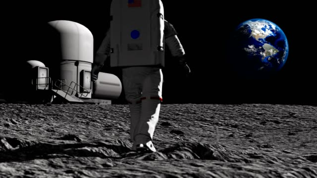 astronaut walking on the moon near the lunar station and admiring the beautiful earth. waving his hand to the earth. cg animation. elements of this video furnished by nasa. - księżyc filmów i materiałów b-roll