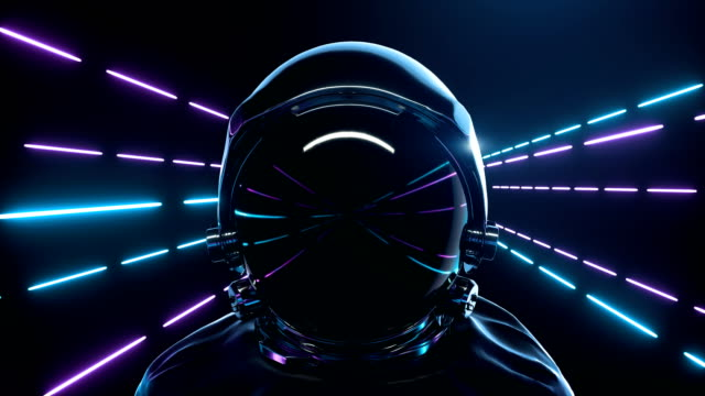 Astronaut With neon laser Lights In dark space. Loop background animation