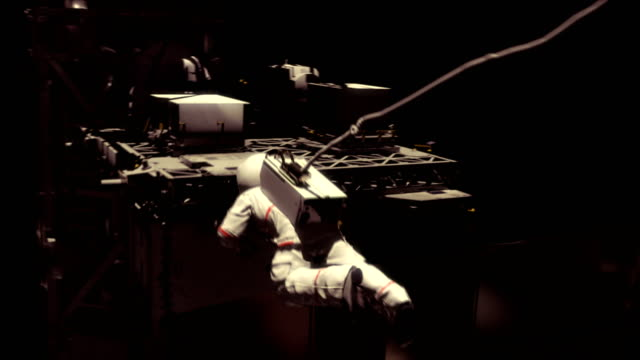 Astronaut working on the ISS. Realistic 4K animation. video