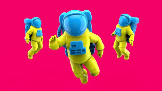 astronauten fliegen - 3d animation - raumanzug stock-videos und b-roll-filmmaterial