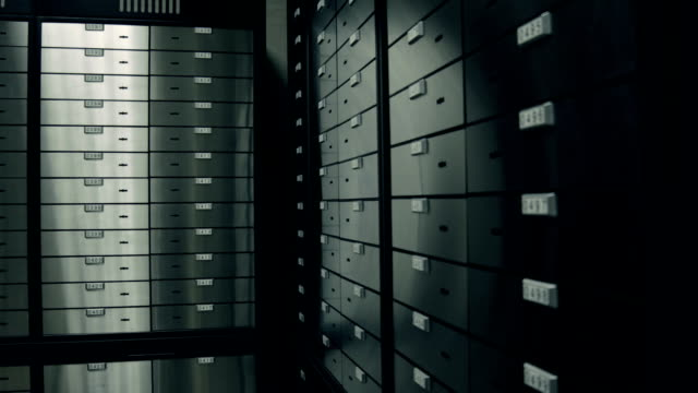 at bank. room with safety deposit boxes - safes and vaults stock videos & royalty-free footage