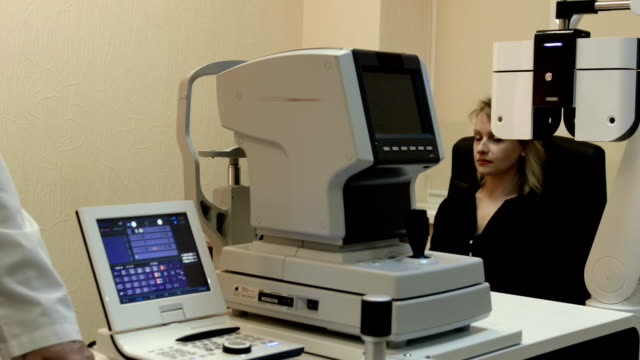 At ophthalmologist's. Woman got her eyesight checked video