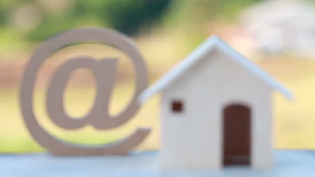 At sign mail logo or email icon with wooden house. Online buying for property real estate investment for home concept. Business mortgage have to savings plans housing At sign mail logo or email icon with wooden house. Online buying for property real estate investment for home concept. Business mortgage have to savings plans housing housing logo stock videos & royalty-free footage