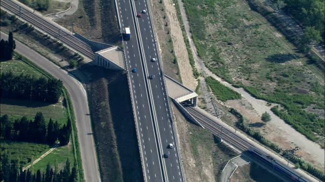 TGV At Speed  - Aerial View - Provence-Alpes-Côte d'Azur, Vaucluse, Arrondissement d'Avignon, France video
