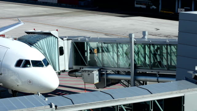 at the airport - gangway to plane video
