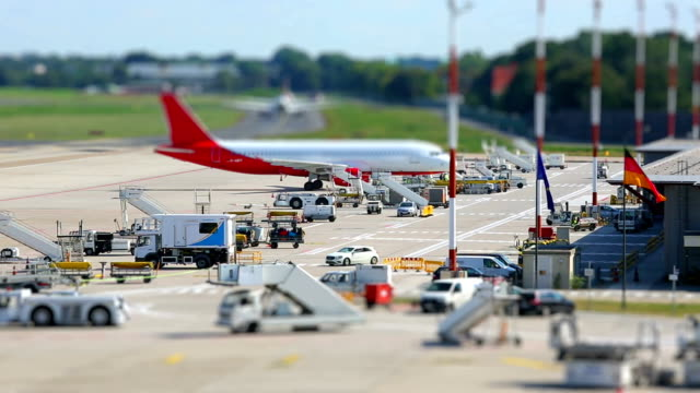 At the airport - time lapse with tilt shift video