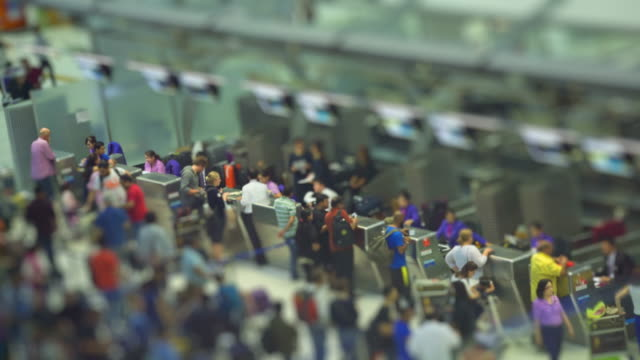 At the airport,tilt shift effect video