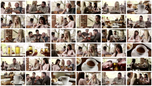 il cafe. parete video. - montaggio in sequenza video stock e b–roll