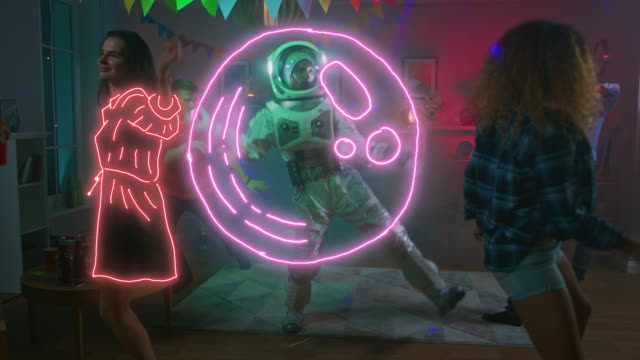 At the College House Costume Party: Fun Guy Wearing Space Suit Dances Off, Doing Funky Dance Moves. With Him Beautiful Girls and Boys Dancing. Stylish Hand Drawn Cartoon Animation video