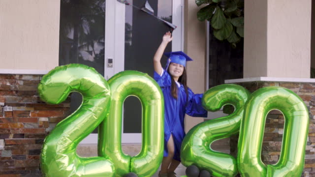 at the end i got to celebrate my graduation - new normal video stock e b–roll