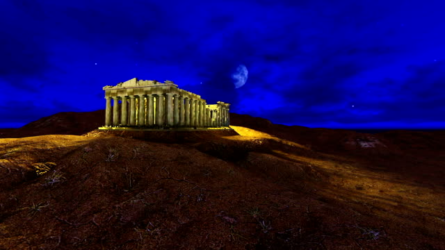 Athena Parthenon 3D Model At Night With Beautiful Moon video