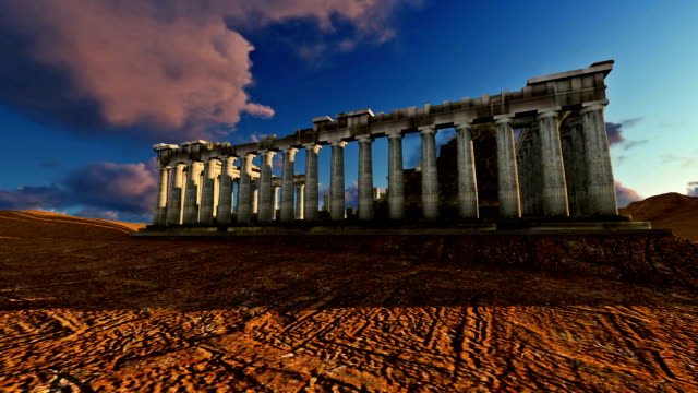 Athena Parthenon 3D Model On A Beautiful Sunset video