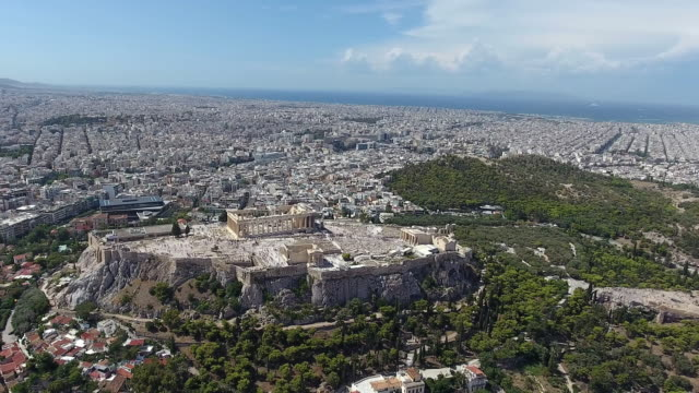 athens acropolis aerial view - greek architecture stock videos & royalty-free footage