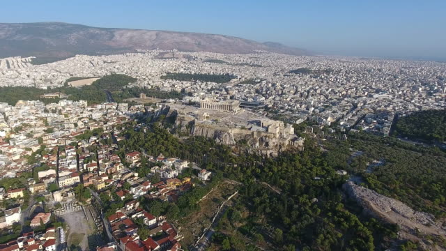 Athens Acropolis aerial view video
