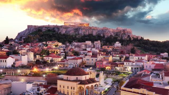vídeos de stock, filmes e b-roll de atenas-acropolis na noite, greece lapso de tempo - atenas grécia