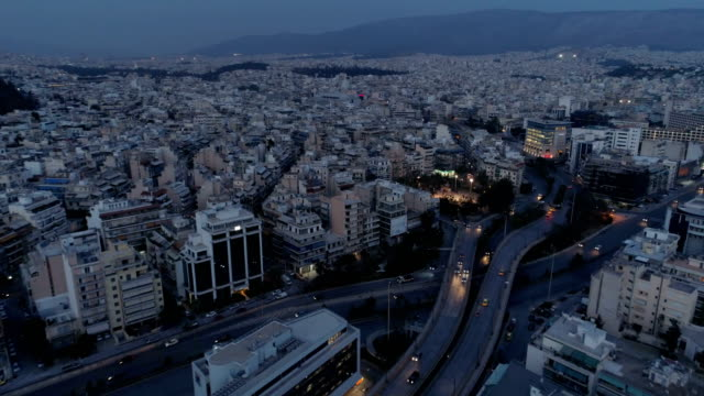 Athens at dusk, aerial view video