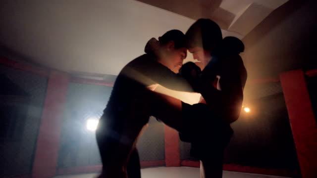 vídeos de stock, filmes e b-roll de mma athlet bateu outro. atletas profissionais de mma dois lutam. - artes marciais